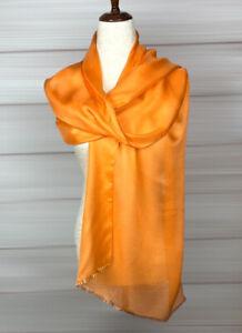 NWOT Woman's Laurant Benon Paris 100% silk Orange Rectangle Scarf Wrap 70x21