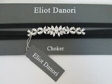 NWT Auth Eliot Danori Clear Crystal Flower Black Wrap Bow Choker Necklace $95