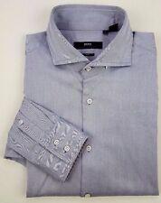 HUGO Boss SELECTION Gray HERRINGBONE Slim FIT Shirt 42 16 1/2 MENS Size SZ Man**