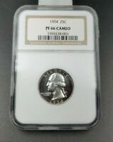 1954 P 25c Washington Silver Coin Proof Quarter NGC PF66 PR66 Cameo No Toning