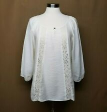 Off White PEASANT BLOUSE Lace Insert Long Sleeve Loose Fit Top Shirt XL