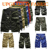Mens Boy Cotton Cargo Shorts Combat Sports 3/4 Length Pants Trousers Summer