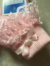 Tiny Baby Premature Newborn Size 000 Lovely Frilly Lace Pearl Ribbon Girls Socks