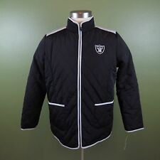NFL Oakland Raiders Large Black Quilted Womens Jacket Large Zipper Front NWT