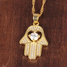 Fatima Hand Hamsa Moissanite Good Luck Yellow Gold GP Pendant Necklace Gift