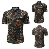 Floral luxury dress shirt stylish casual short sleeve summer slim fit tops