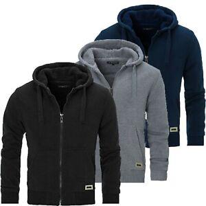 Mens Padded Borg Fleece Lined Full Zip Up Hoodie High Quality Sweatshirt Jacket