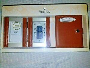 Bulova Leather Desk Clock Folding Picture Frame Wallet Gift Set Brown B1287 NEW