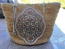 Brighton Nwt MAsterpiece Anju Beaded Straw PUrse/Handbag/Tote