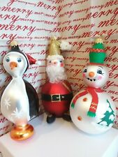 Italian Blown Glass Christmas Ornaments Snowman - Santa - Penquin Set of 3