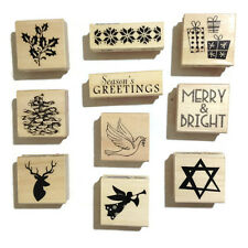 Recollections Rubber Stamps Christmas Holiday Wood Mounted Lot of 10 pcs NEW