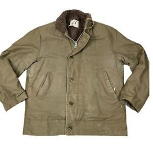 Vintage military N-1 deck coat sherpa lined jacket reproduction *Flawed