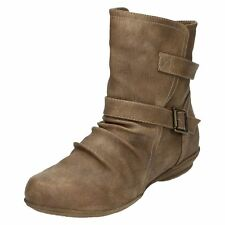 Ladies Spot on Casual Ankle BOOTS F50336 Taupe 5 UK