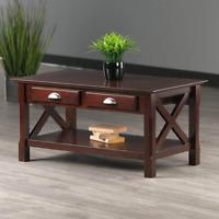 Modern 2-Drawer Coffee Table w/ Shelf Storage Rectangular Wooden Elegant Brown