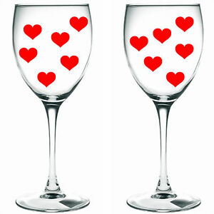 80 x red hearts / hearts WINE GLASS/ VINYL STICKERS / DECAL xmas