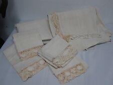 2 ANTIQ HEAVY HOME SPUN PURE LINEN BED SHEETS 4 PILLOWCASES w CROCHET NEVER USED