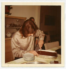 Square Vintage 70s PHOTO College Age Guy w/ Long Hair Cutting Cake
