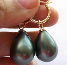 14mm drip black south sea shell pearl dangle earring