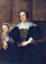 painting Anthony van Dyck The Wife and Daughter of Colyn de Nole Hand painted
