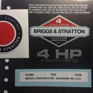 Briggs & Stratton 4-hp 1978-1980 Shroud Labels Decals set of 3