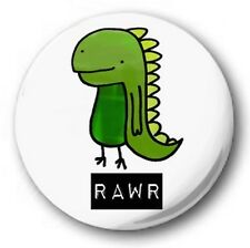 "CUTE DINOSAUR RAWR - 25mm 1"" Button Badge - Novelty Cute"