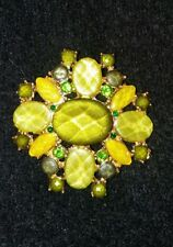 Lovely Vintage Yellow and Green Color Facted Stone Gold Tone Brooch Pin