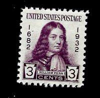 US 1932 Sc# 724  3 c WILLIAM PENN  Mint NH - Vivid Color