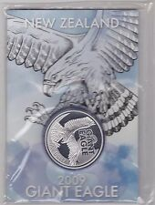 SEALED 2009 NEW ZEALAND GIANT EAGLE ONE OUNCE SILVER DOLLAR IN FLATPACK