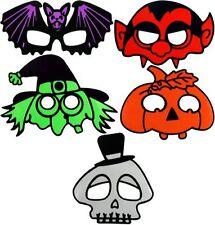 Pack of 5 Kids Childrens Halloween Masks Pumpkin Bat Dracula Witch Skeleton