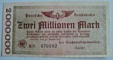 Deutsche Reichsbahn 2 Millione Mark Berlin 20.8.1923 Banknote Germany (2348)
