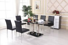 Clear Glass Dining Table Set and 6 Faux Leather Chairs Kitchen Furniture Black
