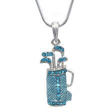 Aqua Blue Golf Club Set Bag Sporting Goods Pendant Necklace Sports Jewelry