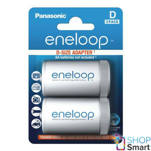 2 Panasonic eneloop Batería Adaptador Aa R6a D R20 Tamaño Convertidor Spacer De