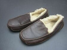 UGG Size 10 Mens Brown Leather Ascot Sheepskin Moccasin Driver Slippers 4V
