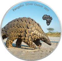 Ghana 5 Cedis 2019 Pangolin Silver Ounce Antique Finish Schuppentier in Farbe