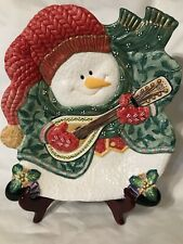 "Fitz & Floyd ""Snowman Jamboree"" Appetizer Dish Canape Plate"