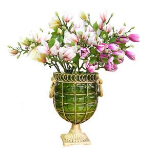 SOGA Flower Vase & 6 Bunches Magnolia denudata Artificial Fake Silk 4 Heads Set
