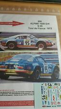 DECALS 1/18 REF 956 ALPINE RENAULT A110 MARQUET TOUR DE FRANCE 1972 RALLYE RALLY