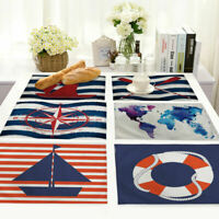Stripe Pattern Cotton Linen Insulation Placemat Dining Table Mat Home Kitchen