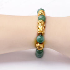 "Fine 24K Yellow Gold Bracelet Donglin Jade Bead Weave Pixiu + Bead 7.3""L"