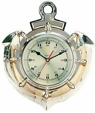 Polished Brass Anchor & Ship Wheel Quartz Clock