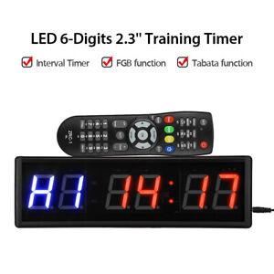"2.3"" 6 Digits LED Programmable Timer Clock Training FGB Tabata Gym Stopwatch Kit"