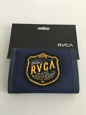 NEW RVCA Men's TRI FOLD WALLET Surfer Skater Street Logo Navy Design RETAIL $29