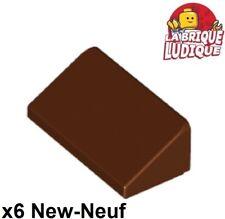 6 x LEGO 4460 Brique Pente Toit Brick 1x2x3 Slope 75° NEUF NEW dark tan