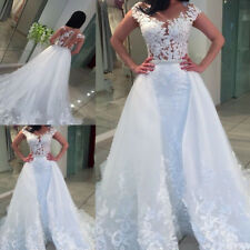 White/lvory Lace Wedding Dress Detachable Train Mermaid Bridal Gown Custom Made