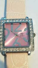 Ladies Stainless Steel Pink Face Crystal  Watch