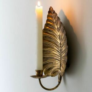 Golden Leaf Wall Sconce Candle Holder, Wall Mounted Candlestick, Lighting