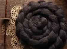 Shetland Natural Brown Undyed Combed Top Wool Roving Spinning Felting Fiber 4 oz