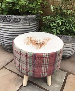 """COUNTRY FOOTSTOOL! """" HIGHLAND COW"""" COORDINATING RED AND MOSS MIX CHECK"""