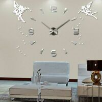 Acrylic Mirror Wall Clock Watch Home Decoration Fairies Angel Pattern Clocks New